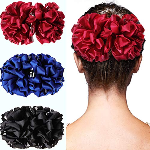 3 Pieces Strong Hold Hair Claws Large Silk Flower Bow Jaw Clips Big Silk Hair Claw Nonslip Flower Claw Chiffon Hair Claw Clip for Women Girls