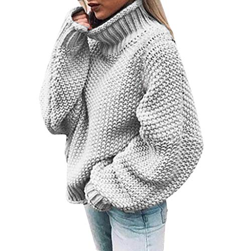 Lowest Prices! HENWERD Womens Casual Turtleneck Chunky Sweaters Oversized Batwing Sleeve Knitted Pul...