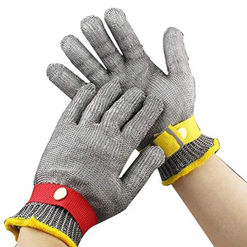 Schnittfeste Handschuhe-XHZ Schneidfeste Handschuhe Edelstahldraht Metallgitter Metzger Sicherheitsarbeitshandschuhe zum Schneiden und Schälen (Silber , Größe: XL (Color : Two, Size : Size XL)