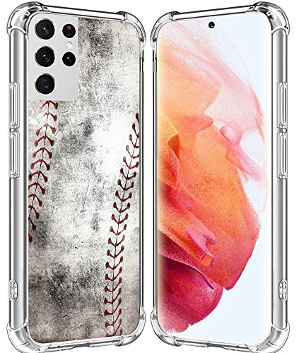 S21 Ultra Case/IWONE Designer Rubber Durable Protective Skin Transparent Cover Shockproof Compatible with Samsung Galaxy S21 Ultra 5G Creative Vintage Baseball Art Printing