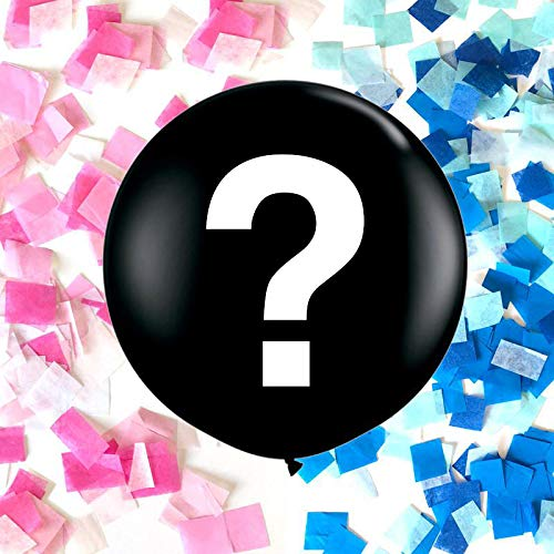 36' Industrial Grade Gender Reveal Balloon with Question Mark and Pink and Blue Confetti