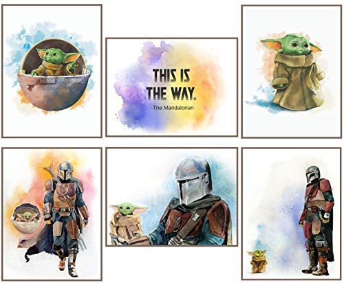 Baby Yoda The Child Mandalorian Prints Set of 6 Posters UNFRAMED 8 x 10 inches Wall Art Decor product image