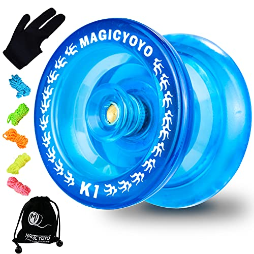 MAGICYOYO K1-Plus Professional Responsive Yoyos for Kids Beginner, Durable Plastic Yoyo Hubstack Basic Yoyo with Yoyo Sack + 5 Yoyo Strings + Yo-Yo Glove+ 2 Hubstack Gift( Crystal Blue)