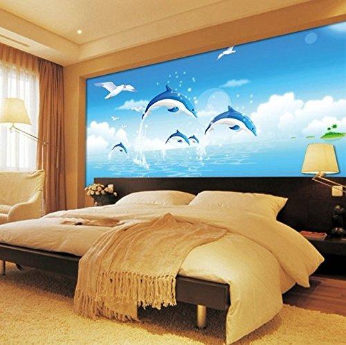 Wandbild Des Dolphin Kinderzimmer Wand Zu Wand In Die Höhle Nahtlose 3D Vliestuch Groß Wallpaper Murals. 350Cmx245Cm