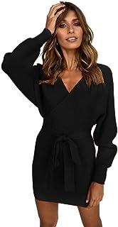 Semme Women Sexy Long Sleeve V-Neck Waistband Knitted Dress Sweater Dress (Black S)