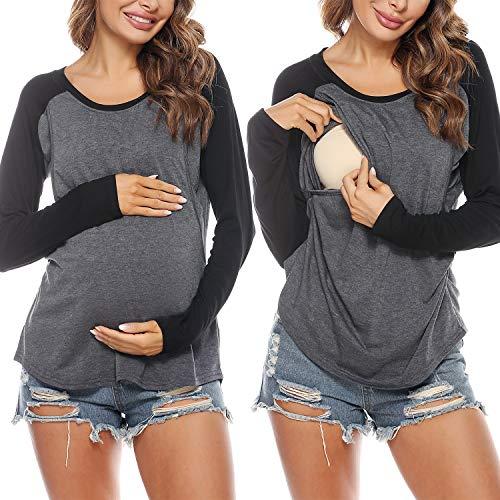 Sykooria Tops de Maternidad para Mujer Camisas de Lactancia Camiseta de Lactancia Suave de algodón en Capas Top para Mujer Embarazada Blusa Informal de Hospital