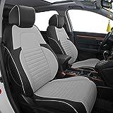 Easeadd Fundas De Asiento De Coche A Medida para Compatible con Honda CRV 2013 2014 2015 2016 2017 Hybrid Comfort,Elegance,Executive,Exclusive,Toit Panoramique - Cuero(Negro/Gris)