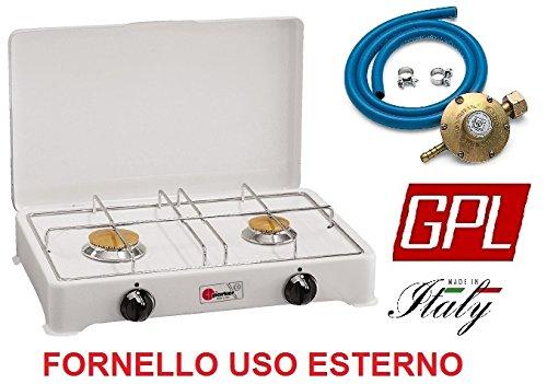Réchaud de table Parker 2 feux alimentation gaz GPL (gaz dans les bouteilles) pour usage extérieur 2002 C – Fabriqué en Italie