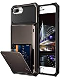 Vofolen Case for iPhone 8 Plus Case Wallet Card Holder ID Slot Scratch Resistant Dual Layer Protective Bumper Rugged TPU Rubber Armor Hard Shell Cover for iPhone 6 Plus 6s Plus 7 Plus 8 Plus Gun Color