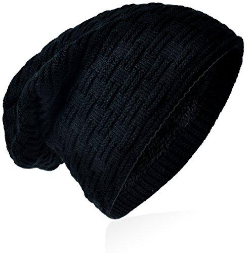 Miobo warme Feinstrick Beanie Mütze mit Flecht Gitter Muster und sehr weichem Innenfutter (Flecht-Schwarz)