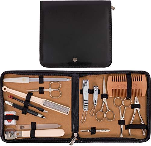DREI SCHWERTER - Kombiniertes 15-teiliges Herrenpflegese 'ALL IN' für die tägliche Bartpflege, Maniküre und Pediküre mit handgefertigten Stahlinstrumenten - Kunst Leder Etui - Markenqualität (5533)