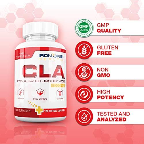 CLA – 1000 bis 3000 mg Pro Dosis – 120 Softgel-Kapseln für Super Muskelaufbau – Unterstützt die optimale Körperzusammensetzung – Die beste Ergänzung für den Körperfettabbau und den Muskelaufbau - 5
