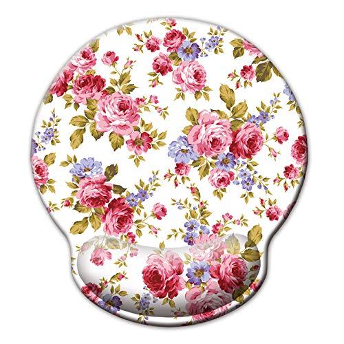 Jahosin - Tappetino per mouse con supporto per il polso, stile vintage, con rose bianche, con poggiapolsi ergonomici, in memory foam, antiscivolo (25 x 23 cm, rosa bianca)