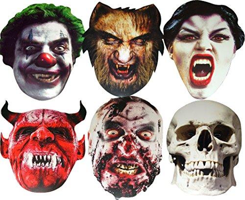 Halloween - Multipack - 6 Masques de Cartes effrayantes -Zombi, Loup-Garou, Vampire, Crâne, Diable et Tueur Clown - Masque de Visage Fait en Carte Rigide