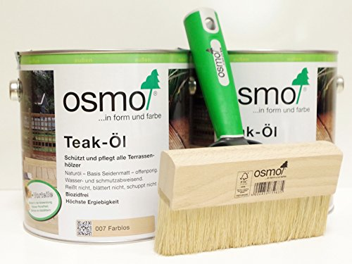 OSMO AB.Bauconcept GbR© Kombiangebot Teak-Öl Farblos 007 5 Liter Fußbodenstreichbürste 150 mm