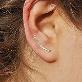 genbz Chic Ear Climbers Handcrafted Hammered Ear Climber Earrings Minimalist Ear Crawler Sterling Silver Ear Crawler Earrings