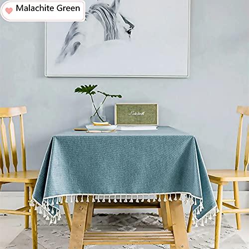 KUATAO Mantel rectangular de algodón y lino sin arrugas, mantel de mesa lavable para cocina (gris claro 130 x 220 cm) Malaquita verde 130 x 220 cm