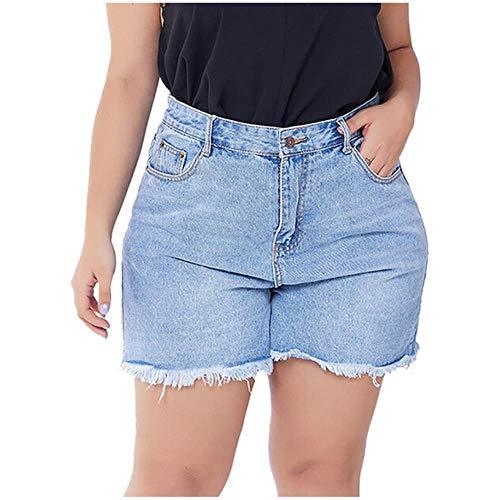 JKFXMN Frauenshorts Plus Size Short Jeans Shorts Mit Hoher Taille Damen Jeansshorts Für Frauen Bottom Summer Short Femme, Blau, 2XL