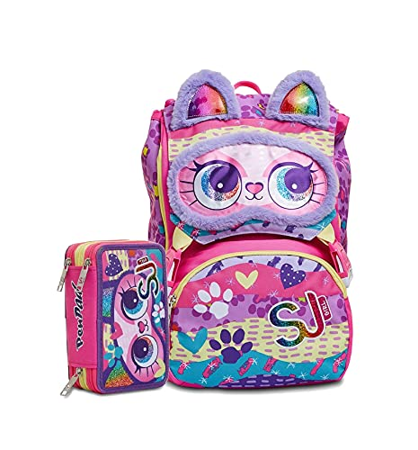 Zaino Schoolpack SJ Gang Animali Gatto Fantasy Estensibile + Astuccio 3 Zip Completo