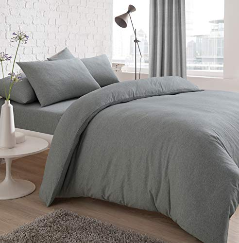 Sleepdown Jersey Melange Duvet Set - Easy Care Non Iron Plain Yarn Dyed Quilt Cover with Pillowcases - Grey, Double