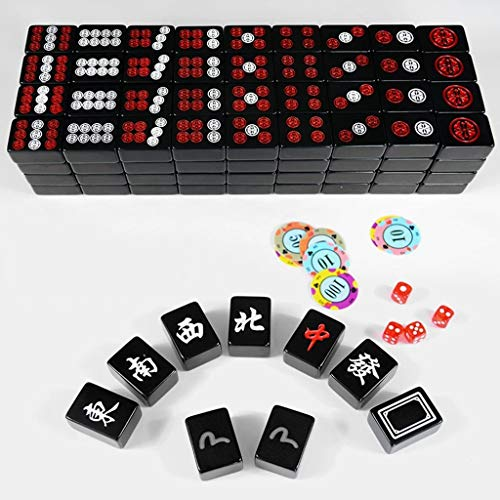 Chinese Mahjong Mah Jong Game Tile Games Board Game Set Chinese Traditional Mahjong Games Entertainment Best Gift for Chinese Culture Lover Melamine (Color : Black, Size : 392920 mm)