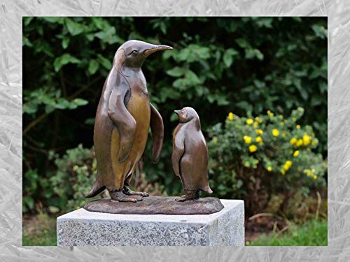 IDYL Escultura de bronce de pingüino y bebé, 45 x 24 x 39 cm, figura de animal de bronce, hecha a mano, escultura de jardín o decoración, artesanía de alta calidad, resistente a la intemperie