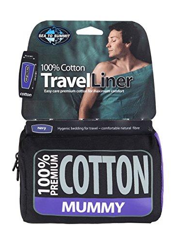 Sea to Summit Premium Cotton Travel Liner-Mummy Saco de Dormir Acampada y Senderismo, Adultos Unisex, Azul (Blue), Talla Única