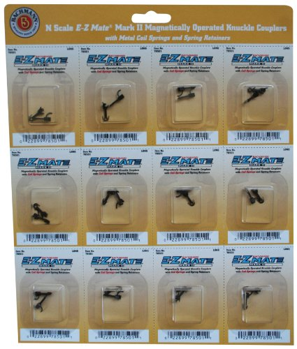 Bachmann Trains E - Z Mate Mark II Magnetic Knuckle Couplers with Metal Coil Spring - Medium (12 Coupler pairs per card) - N Scale