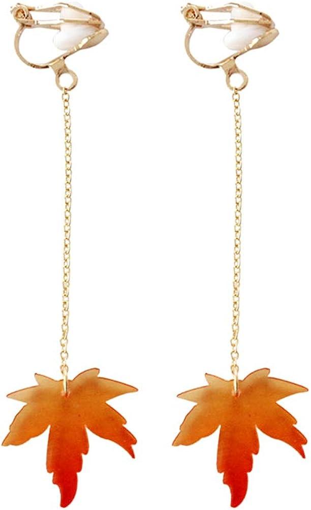 Fashion Women's Earrings,Acrylic Maple Leaf Long Dangle Hook Clip On Earrings Jewelry Gift - Long Type Clip Earrings