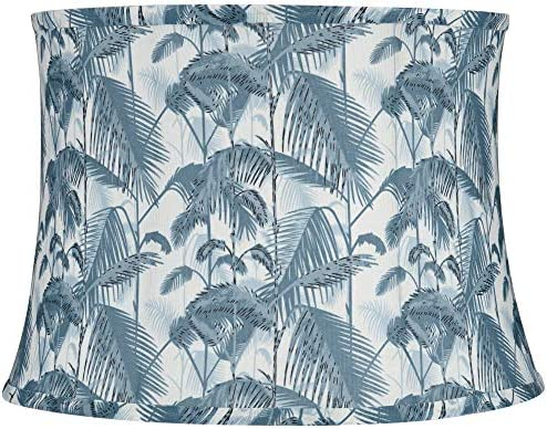 Light Blue Palm Tree Drum Lamp Shade 14x16x11 5 Spider Springcrest product image
