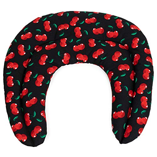 Cuscinetto ricurvo con tasca - cherry-black - Noccioli di ciliegia - Cuscino per il collo per terapia calde e freddo (microonde, forno e frigorifero)