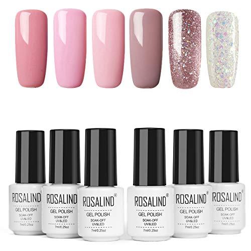 ROSALIND 6 Stück Gel-Nagellack Imprägniert das Design-Set für Nagellack-Set für Semipermanenten Nägel, Set Rosa
