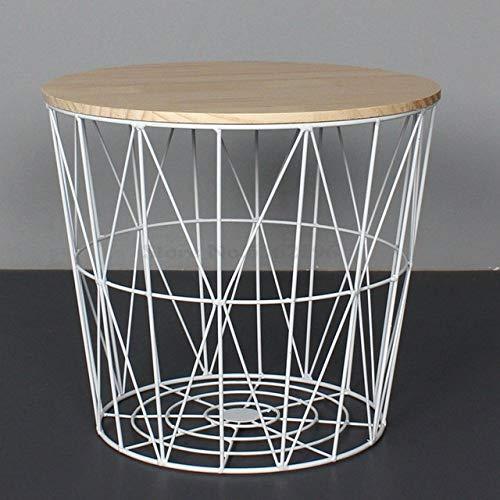 Nachtkastje LKU Wind eenvoudige ijzeren bijzettafel kleine salontafel kleine ronde tafel nachtkastje hoek opbergmand, Medium 40cm