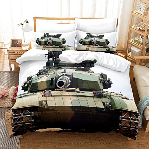 NHBTGH Printed Duvet Cover Single Size White Polyester Bedding Set with Zipper Closure Quilt Cover Set+2 Pillowcases Easy Care Anti-Allergic Soft & Smooth Apply to Boy Girl Bedroom Tank