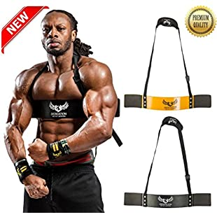 U Apparel Premium Arm Blaster by Ulisses Jnr - Robust and Adjustable Bodybuilding Bicep Isolator/Bomber Curl Support Straps - For Size and Strength (Black)