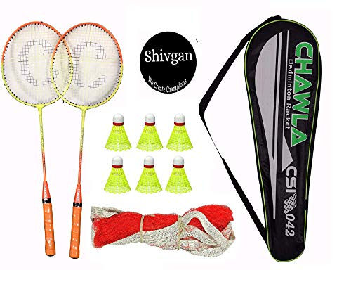 shivgan Steel Style Body Badminton Racket with 6 Pieces Nylon Shuttles with Net and Attractive Full Cover, Set of 2