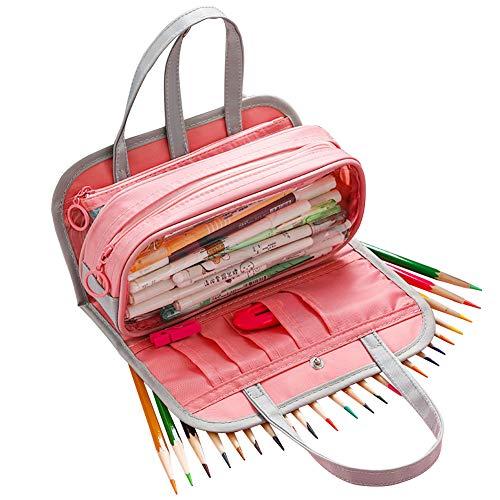 3 otters Big Capacity Pencil Case, Large Capacity Colored Canvas Storage Pouch Marker Pen Pencil Case Medium Capacity Pencil Case, for School & Office