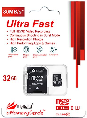 BigBuild Technology 32GB Ultra Schnelle 80MB/s Speicherkarte für Becker Active 5s EU, 6s CE Navigator, Klasse 10 MicroSDHC