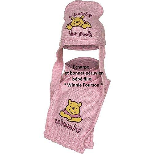 Echarpe et bonnet péruvien bébé fille Winnie l'ourson 3 coloris de 0 à 9mois (46 (6-9 mois), Rose)