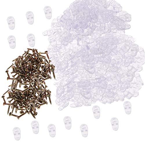 Zaky Glashalter Clip 100 Stück Glasregalhalterung Spiegelclips mit 100 Stück Schrauben Glastür-Halteklammern Kunststoff-Glasscheiben-Halteklammern Insgesamt 200 Stück (klar)