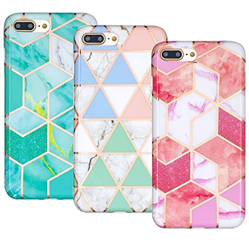 JZ 3-Pack Marble Design Funda Compatible with iPhone 8 Plus / 7 Plus TPU Soft Rubber Silicone Phone Cover - A
