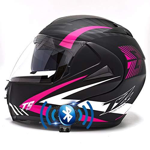 Motorrad Integrierter Bluetooth-Helm Funk Sprechanlage Motorrad-Klapphelm mit Anti-Fog-Doppelscheib Hartes Warm für Damen Herren 55-62CM