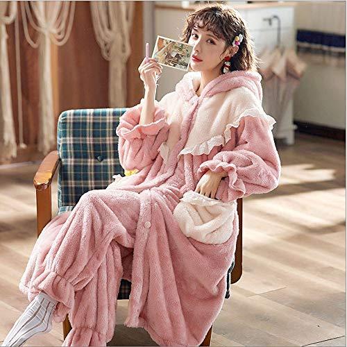 NXYJD Invierno de Franela Estudiante Coreano Precioso Coral Felpa Ropa de casa engrosadas de Las Mujeres Conjunto de Pijama camisón Largo
