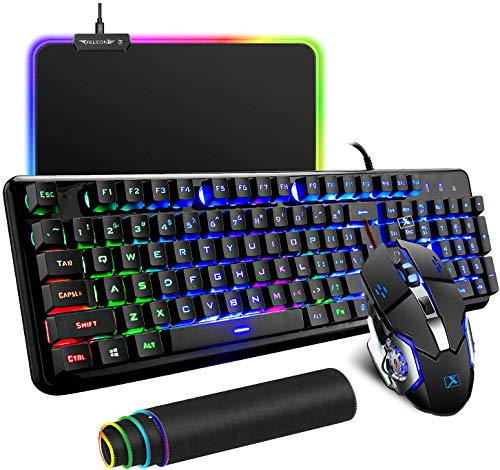Wired Keyboard and Mouse Mousepad Combo,Mechanical Feel Rainbow Backlit Gaming Keyboard Mouse,10 Color RGB Gaming Mice Pad 7 Color Mute Gaming La Souris for PC Laptop Mac