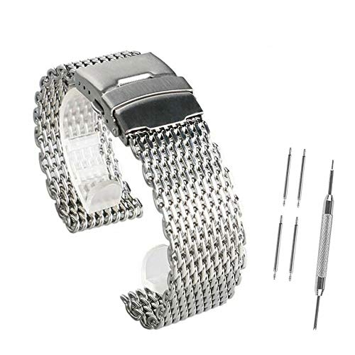 Correa de Acero Inoxidable Shark Mesh Dive Watch Band, Shark Mesh Milanese Watch Brazaletes, 18 mm, 20 mm, 22 mm y 24 mm. (24MM)