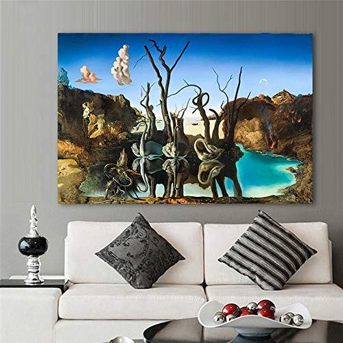 Salvador Dali abstrait surréalisme cygnes reflétant éléphants toile peinture mur Art affiche chambre salon bureau Studio décor à la maison murale