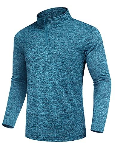 COOFANDY Herren Running Shirt Longsleeves Trainingsshirt Männer Outdoor Hemd Atmungsaktiv Wandern Trekking Shirt Langarm Poloshirts Quick Dry Dunkelgrün XXL