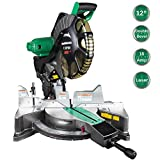 Metabo HPT 12-Inch Compound Miter Saw, Laser Marker System, Double Bevel, 15-Amp Motor, Tall Pivoting Aluminum Fence, 5 Year Warranty (C12FDHS)