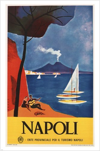 HSE vintage NAPLES travel POSTER Mario Puppo Italy 1960 Beautiful Seaside 36x24