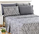 Lux Decor Collection Bed Sheet Set - Brushed Microfiber 1800 Thread Count Bedding - Wrinkle, Stain & Fade Resistant - Deep Pocket Queen Size Sheets Set - 6 PC (Queen, Paisley Grey)